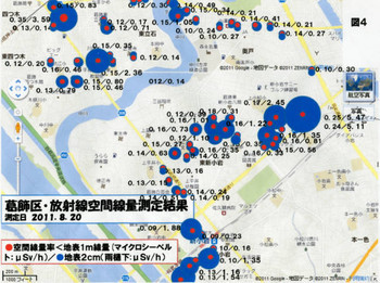 葛飾青空の会による 葛飾・放射能汚染マップ